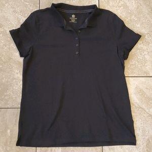 3/$12 black collar polo style short sleeve top
